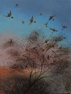 """Nicholas Hely Hutchinson, """"Goldfinches"""" 10x8"""" oil on board"""