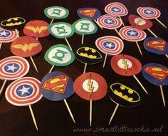 Superhero Birthday Cupcake toppers