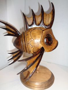 Handcarved wooden fish is made entirely from by HundleyHandCarved