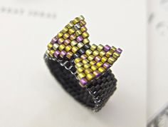 Gold Bow Ring Beaded on Black Band Ribbon Preppy by JeannieRichard, $30.00