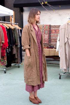 Imagen | Linen brown duster coat jacket | Crumpled creased | Working dress | Workwear | Dress contrast pink purple