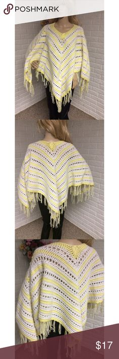 """Handmade Crochet Fringe Poncho This crochet poncho with fringe detail stands out!  *Approximate length is 27.5"""" *Handmade  Used; Excellent Condition Sweaters Shrugs & Ponchos"""