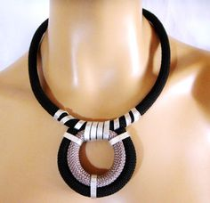 Rope Necklace Tribal Nautical Statement Necklace Black by vess65, $27.00
