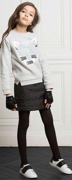 KARL LAGERFELD KIDS Mini me Girls Choupette Sweatshirt #karllagerfeld #girl #minime #fashion #kidsfashion