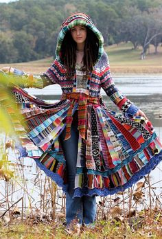 Insane hand made patchwork sweater coat. This is amazing!