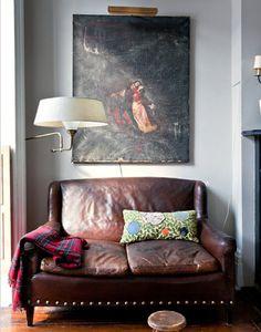 Cozy leather love seat.
