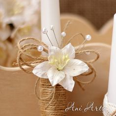 Items similar to Rustic Wedding Unity Candles Burlap and Lace Unity Candle Set Rustic Unity Candle Rustic Wedding Decor Unity Ceremonty Set on Etsy Burlap Candles, Design Rustique, Baptism Candle, Wedding Unity Candles, Palm Sunday, Easter Crafts, Christening, Rustic Wedding, Decoration