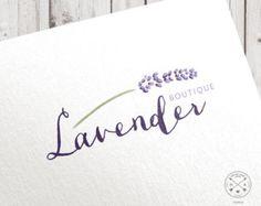 Premade logo | watercolor lavender flower | calligraphic custom logo design for blogger studio shop craft boutique photographer branding