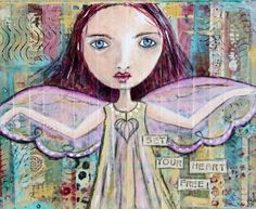 Angel Original Mixed Media Collage Art Painting 10 X 8 Canvas - pinned by pin4etsy.com