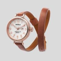 Shinola 'The Birdy' White Watch Orchid Leather Strap, 34mm