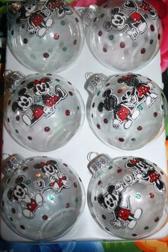 Mickey Mouse and Minnie Mouse Glass Ornaments by CreativeGitana, $16.25  #mickeymouse #minniemouse #ornaments
