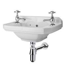 Carlton Traditional 515 x 2 Tap Hole Cloakroom Basin at Victorian Plumbing UK Bathroom Sinks For Sale, Bathroom Toilets, Small Bathroom, Loft Bathroom, Bathroom Stuff, Bathroom Ideas, Small Cloakroom Basin, Cloakroom Suites, Wall Mounted Basins