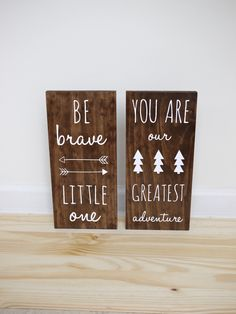 Woodland nursery, be brave little one and you are our greatest adventure set of 2 signs, sign decor, playroom sign, tribal nursery Baby Boy Rooms, Baby Boy Nurseries, Rustic Baby Nurseries, Playroom Signs, Nursery Signs, Tribal Nursery, Arrow Nursery, Nursery Inspiration, Nursery Ideas