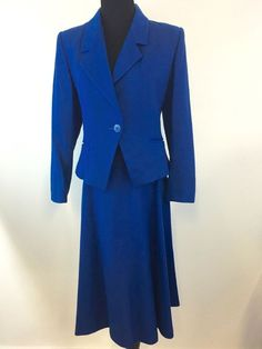 "VINTAGE Bert Newman Petite ROYAL BLUE WOOL SUIT SKIRT JACKET SIZE 6 26"" WAIST #BertNewman #SkirtSuit"