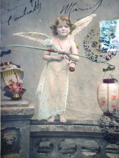Antique angel postcard  Cupid little girl bow by LizKnijnenburg