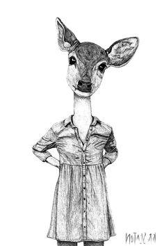 Deer Art Print - Wall Art - Black and White Art - Print Illustration - Animal Art - Art for living room - Half Animal Half Human - 12x18 by krsextonart