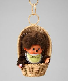 Take a look at this Yellow Bib & Basket Japanese Version Monchhichi Plush Toy by Monchhichi on #zulily today!