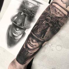Tattoo artist Rob Richardson black and grey realistic tattoo blackwork authors style United Kingdom Hand Tattoos, Tattoos Arm Mann, Best Sleeve Tattoos, Body Art Tattoos, Cool Tattoos, Bike Tattoos, Gangster Tattoos, Godfather Tattoo, Tattoo Mafia