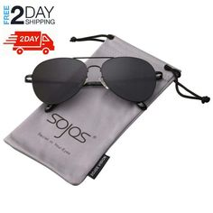 125a342a04b SojoS Classic Aviator Mirrored Flat Lens Sunglasses Metal Frame with Spring  Hinges With Black Frame Grey Lens