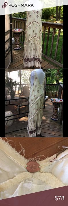 Fabulous Free People Maxi Dress Gorgeous, lined Free People Maxi. Worn once! Size L. 100% viscose. Raw edges are intentional by manufacturer. Excellent condition . Free People Dresses Maxi