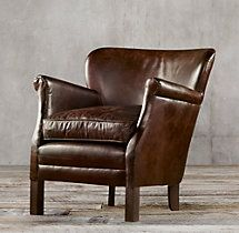 Professor's Leather Chair - Italian Berkshire, Walnut - 2 for next to fireplace