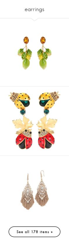 """""""earrings"""" by lullilia ❤ liked on Polyvore featuring jewelry, earrings, yellow multi, dolce gabbana earrings, drop earrings, brass earrings, sparkly earrings, leaf earrings, multicoloured and tri color earrings"""