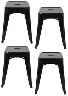 """Toledo"" Replica Tolix Table Stool in Black (Set of – Simply Bar Stools"