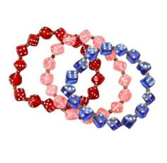 """Bunco Dice Bracelet Set - 3 Separate Bracelets by Bunco. $4.99. This dice themed stemware glass is a perfect Door Prize for the Bunco Night Champion.. Hand-painted clear stemware glass. 3.5""""W x 9""""H. Great by itself or with matching Bunco Nite cocktail napkins. These adorable, transparent, bunco dice bracelets make a wonderful and affordable party favor for every member of your group.Each 3 piece dice bracelet set can be separated and given as individual pieces. The dice..."""