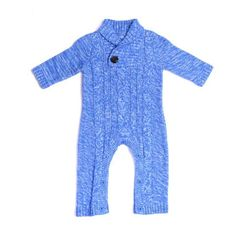 Soft cotton knit cable style sweater in a bright sky blue color will certainly brighten up your little guy from the winter blues. Features buttons (not snaps) on the bottom, for a more elegant look, while still allowing easy access to change diapers.