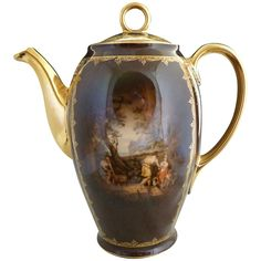 Carlsbad art porcelain coffee pot with a finely detailed Greek portrait c. 1920