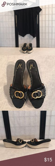 J Vincent black straw wedge sandals J Vincent black straw wedge sandals.. like new J Vincent Shoes Sandals
