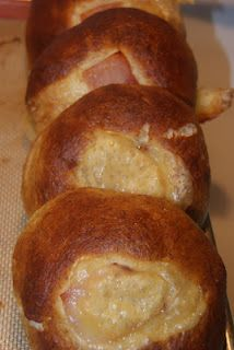 Ham & Havarti Pretzel Bread Sammies,  from   littlekitchenontheprairie.blogspot.com