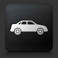 Black Square Button with Carcass of the Car vector art illustration