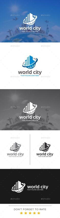 World City Logo Design Template Vector #logotype Download it here:  http://graphicriver.net/item/world-city-logo-template/10998276?s_rank=367?ref=nexion
