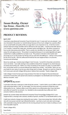 Product Review Collagen M.D.® April/May 2017: Susan Roxby, Cyclist & Spa Owner, www.sparenue.com product review for Advanced Connective Tissue Formula Plus and Collagen II Joint Formula Supplements. Collagen M.D. supplement are made in California under strict cGMP guidelines and free of dairy, gluten, soy & sugar. #Supplement Reviews #collagenmd #collagenmdprofessional #healthyaging #AgeManagement