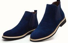 Handmade men blue boots, suede leather boots for men, men formal dress shoes Botas Chelsea, Chelsea Boots, Suede Leather, Leather Boots, Soft Leather, Slip On Boots, Men's Boots, Custom Design Shoes, Mens Boots Fashion