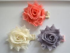Set of three mini Shabby Flower Hair