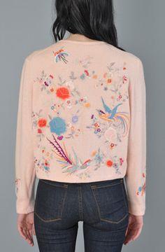 HELEN BOND CARRUTHERS Vtg. 50s cashmere embroidered BIRDS floral cardigan sweater
