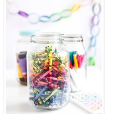 Kids party Centerpiece/party game (guess how many crayons are in the jar). I would add bouquet of balloons and ribbon.