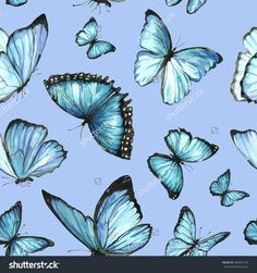 Pattern of blue butterflies on a blue background. Figure handmade painted watercolor on paper