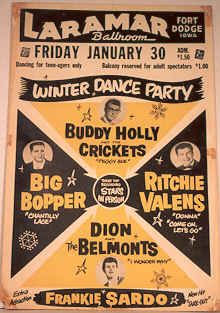 Big Bopper, Buddy Holly y Ritchie Valens, fallecidos juntos el Dia que murio la musica.