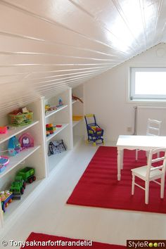 toy shelves *Pinning for attic roof idea*