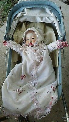 "16"" Christening Haunted house prop doll halloween creepy horror zombie baby vtg"