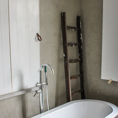 """78 Likes, 3 Comments - Comfort & Stuff Imports (@comfortandstuff) on Instagram: """"Why tiling? Natural plaster-wall finish (Marrakech Walls) in this beautiful bathroom. Take a soak!…"""""""
