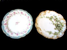 2 Vintage Plates  Hand Painted Guilted by JewelsOfHighElegance, $12.75