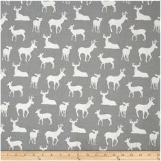 HALF YARD (1/2 Yard) - Gray and White Deer Fabric  DETAILS: Brand: Premier Prints Color: Medium gray background with soft white deer silhouette Material: 100% cotton Weight: Medium-heavy weight fabric, décor weight fabric Width: 54 inches Horizontal Repeat: 12.5 inches Vertical Repeat: 12.5 inches Misc: This is a screen printed fabric on a cotton twill base fabric.   QUANTITY: Please note that this listing is for 1/2 yard of fabric. Fabric cut will measure 18 inches by the width of the…