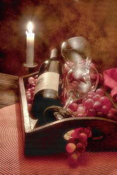Wine By Candle Light II Photograph  - Wine By Candle Light II Fine Art Print