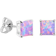6mm Multi Square Sterling Silver Synthetic Opal Stud Earrings | Body Candy Body Jewelry #bodycandy