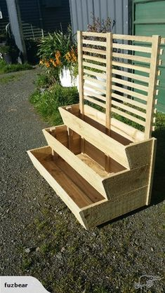 Wooden Patio Deck Planter Boxes New Ideas Garden Planter Boxes, Wooden Garden Planters, Deck Planters, Tiered Planter, Wooden Planter Boxes Diy, Planters Shade, Planter Box With Trellis, Raised Planter Boxes, Pallet Planter Box