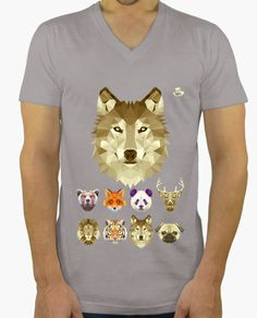 Camiseta Lobo Camiseta hombre, cuello pico largo  19,90 € - ¡Envío gratis a…
